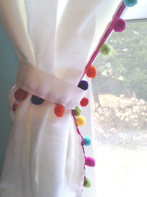 Rainbow Multi Color Pom trimmed curtain by ChesapeakeCottage