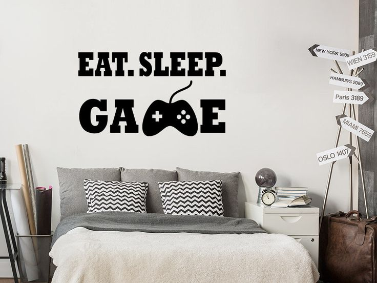 Controller Video Game Wall Decal. Gamer Room Decal. Cool Vinyl Sticker. Gamer Decor. Eat Sleep Game Wall Decal. Custom Boy Bedroom Art NL241 by BestDe…