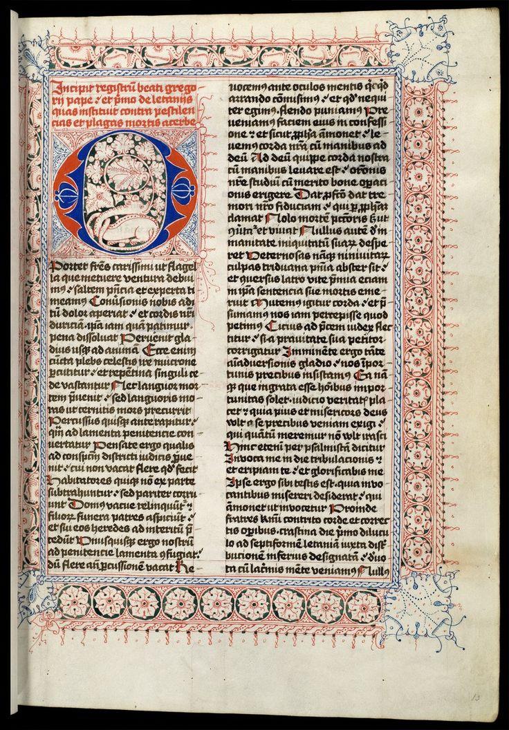 Paus Gregorius de Grote (590-604), Registrum epistolarum, Utrecht ca. 1460-1470. Utrecht University Library, The Netherlands, Hs. 91, f. 13r.