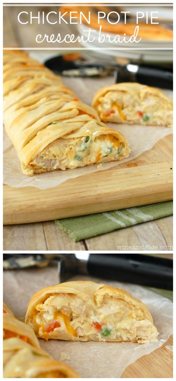 Chicken Pot Pie Crescent Braid | A super easy and delicious dinner all wrapped up in a gorgeous crescent braid!