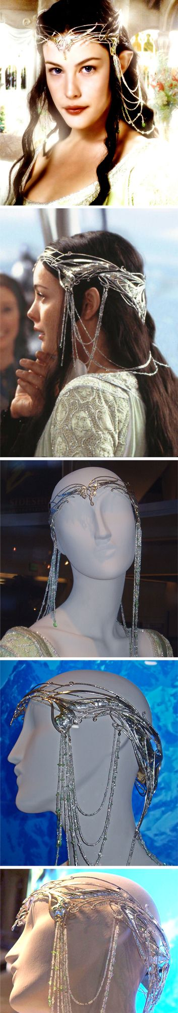 Arwen's Butterfly crown made by Jasmine Watson. Seen on actress Liv Tyler in The Lord of the Rings movies. Liv wears an elaborate crown of silver wire, that has chains with green crystals and semi-precious stones. There are white/silver rochaille beads with green stone beads spaced around on the chains. The crown is actually two parts.