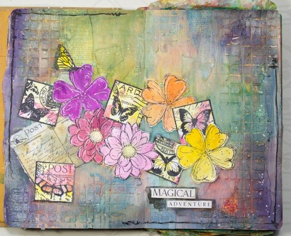 Art journal by Robyn Wood using Darkroom Door Mesh stencil, Fine Flowers and Butterfly Post Stamps