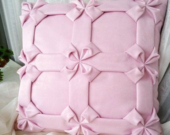 Smock Cushion Cover Light Pink Pillow, Decorative Pillowcase, Smock Pillow Pink Cushion, Light Pink Cushion Cover, Light Pink Pillowcase