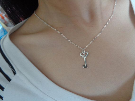 925 Sterling Silver Jewellery Crystal Chain necklace Tiny Charm Key pendant UK