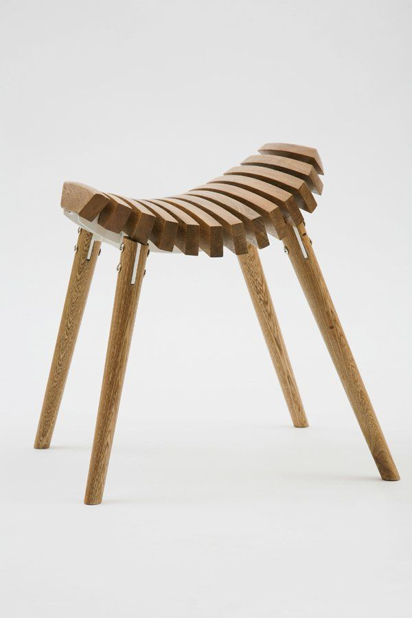 Simple Elegant Wooden Stool In Complex Look Structure Images