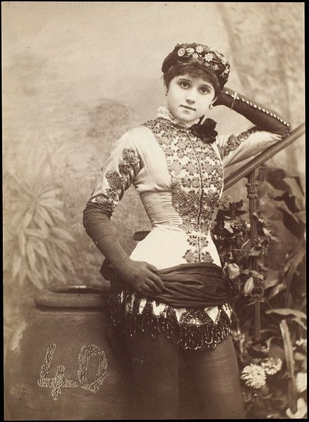 """Connie Gilchrist as Abdallah in The Forty Thieves at the Gaiety Theatre, London, 1880. Samuel Alex Walker, photographer (V)"""