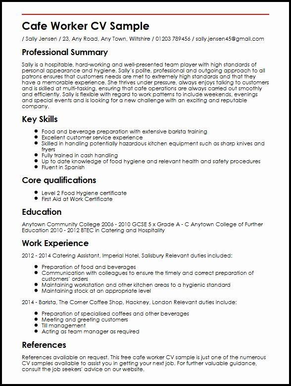 Barista Job Description Resume New Cafe Worker Cv Sample Myperfectcv In 2020 Job Resume Examples Job Resume Sample Resume
