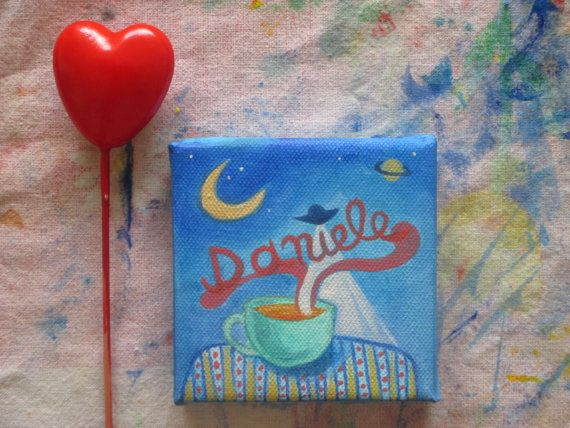 Custom #Name #Painting. Bday gift. Unique gift handpainted by #ClaudiaNanniFineArt on Etsy 3,94''x3,94'' 10x10 cm