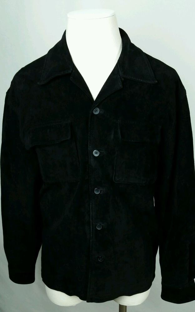 BC ETHIC OUTERWEAR Vintage Style Suede Leather Button Front Coat Hipster Retro #BCEthic #Bomberstylecoat #Leather