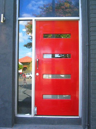 contemporary red front door | ... -catching red door in Brisbane sets the theme for a hip modern home