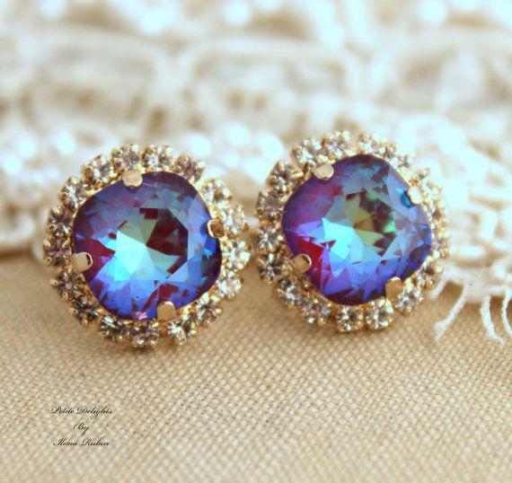 Ultra Purple violet Rhinestone stud earrings,Bridal jewelry,gift for woman - 14k very Thick plated gold earrings real swarovski rhinestones.