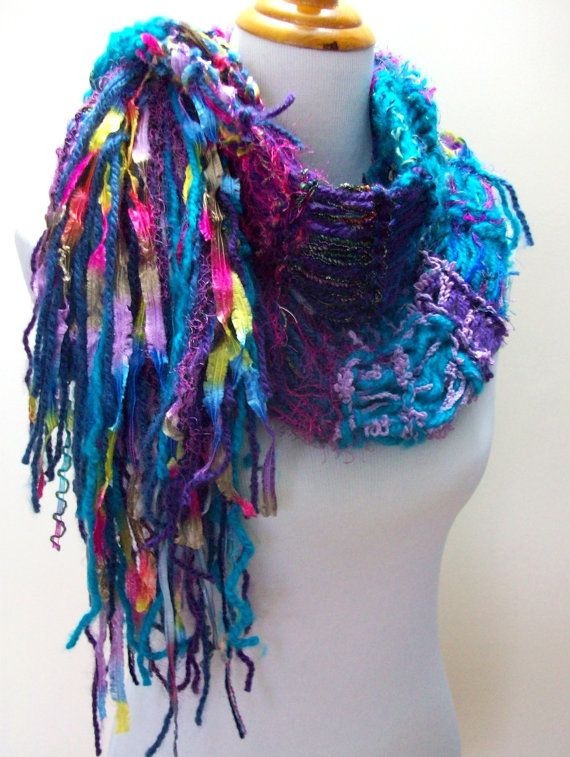 Vibrant Hand Knit Scarf Turquoise and Jewel Tones Hand by Fanchi, $30.00