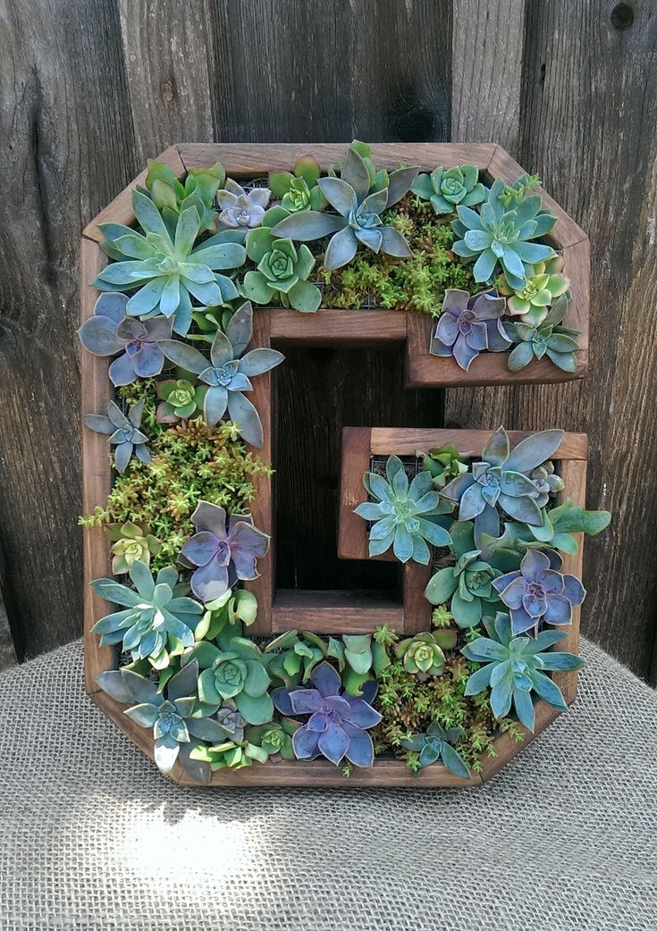17 Best Images About Wooden Succulent Letter Monogram