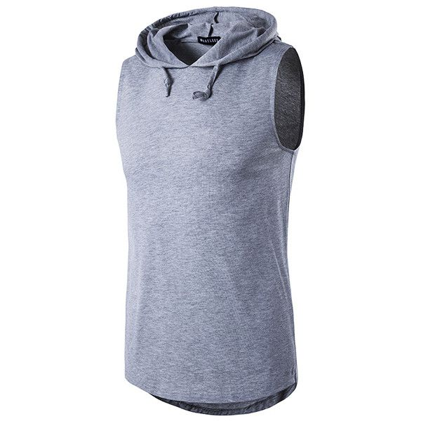 s Summer Solid Color Casual Tank Tops Stylish Sleeveless Hooded Vest (1,210 INR) ❤ liked on Polyvore featuring men's fashion, men's clothing, men's outerwear, men's vests, grey, mens hooded vest, mens gray vest, men's cotton vest, mens sleeveless vest and mens summer vests