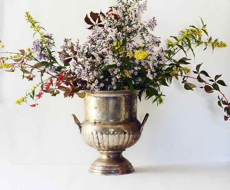 Großen versilbert Urn Vintage Vase Pflanzer von VintageSoup