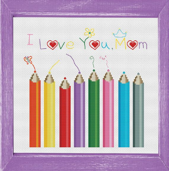 I Love You  Mom Cross Stitch Design by by FancyworkDesign on Etsy