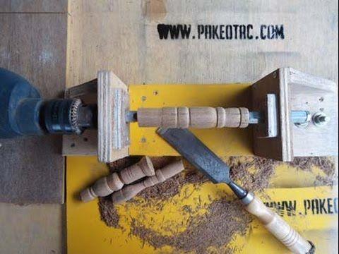 Cara gampang membuat mesin bubut kayu sederhana dari mesin bor