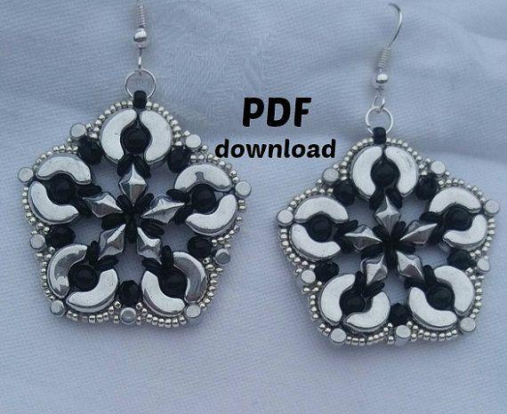 PDF tutorial earrings, PDF pattern big earrings, beading tutorial, step by step, arcos, diamonduo