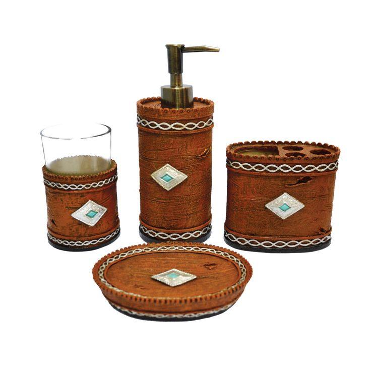 HiEnd Accents 4 Piece Navajo Bathroom Accessories Set - WD3530