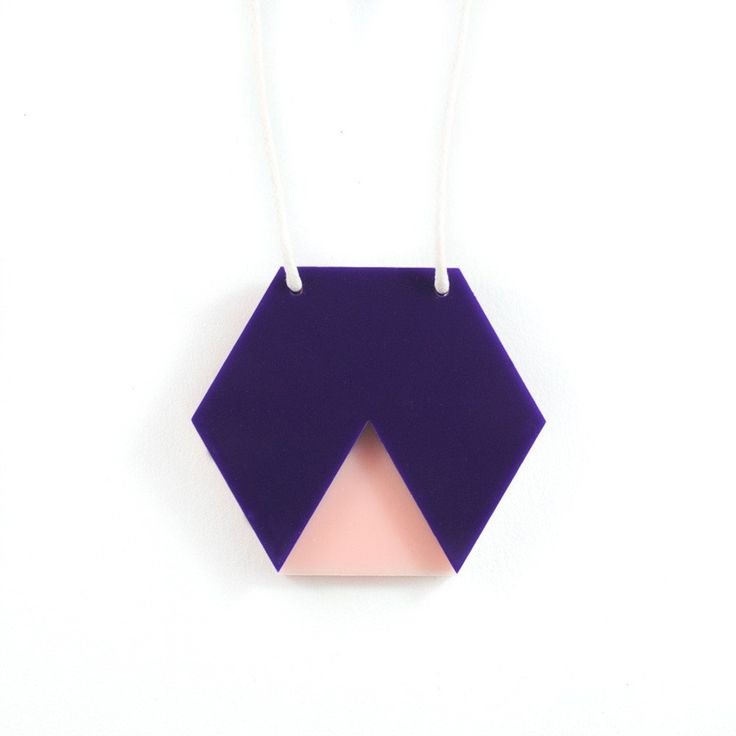 Amindy  - GEO - Hexagon Necklace - Navy and Blush Pink - $30 - Shop online at www.amindy.com.au