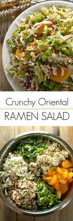 Crunchy Oriental Ramen Salad using coleslaw mix and ramen noodles! This retro Asian inspired salad is always a hit!                                                                                                                                                                                 More