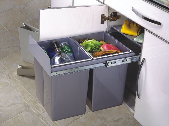 2 20l Soft Close Pull Out Dustbin Recycle Trash Bin Waste Container Bottom Mounted Kitchen