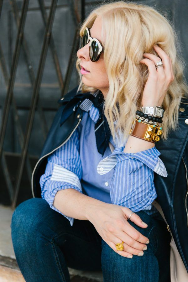 Blue button down blouse with navy leather jacket, @waitingonmartha