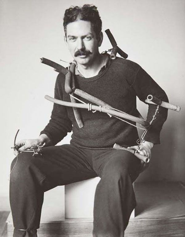 American sculptor and artist Alexander Calder photographed in Paris 1929, by Hungarian born Photographer André Kertész.