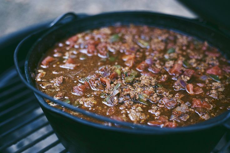 This recipe is for chili on the Big Green Egg. This chili is smoky, spicy, and rich in flavor and perfect cold weather recipe for the Big Green Egg.