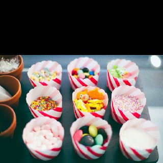 Cupcake decorating bar - put toppings in liners?