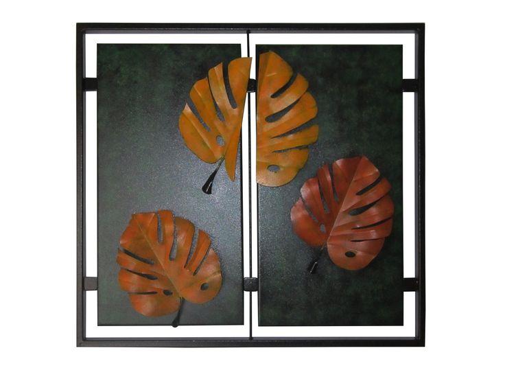 Cuadro Diptico Hojas Balazo 56 cm H x 65 cm W $270.000