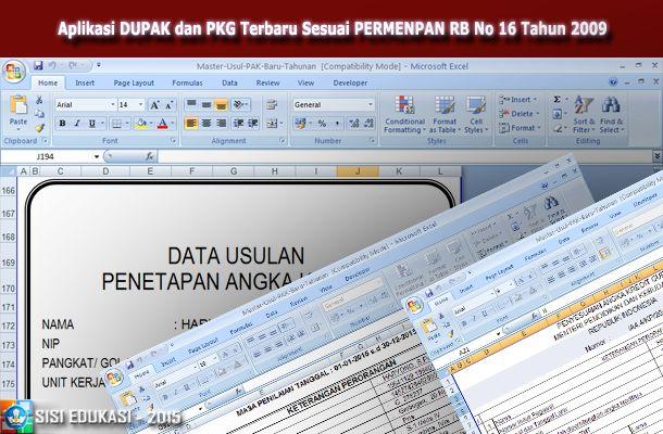 [.xls otomatis] Aplikasi DUPAK dan PKG Sesuai PERMENPAN RB No 16 Tahun 2009 Format Miscrosoft Excel