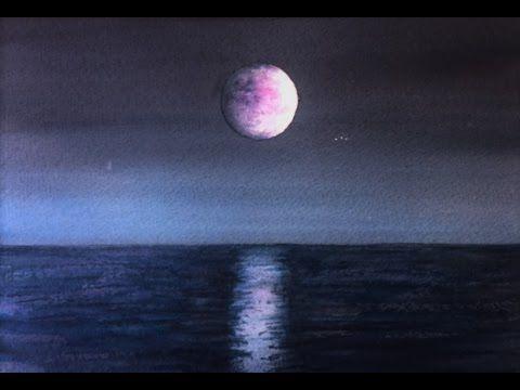 Лунная Дорожка Акварелью.  Moonlit, moon light on the water  in watercol...