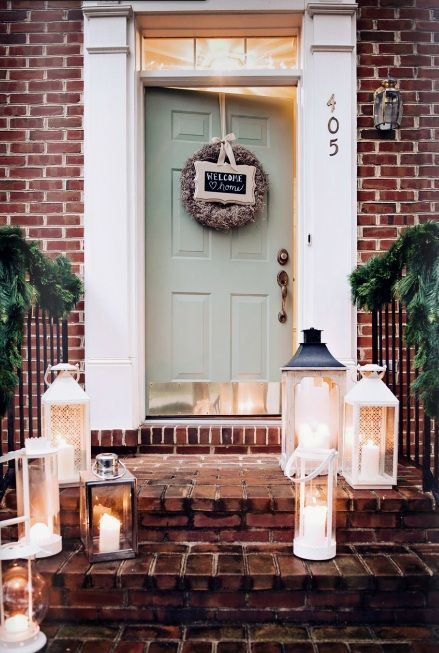 Front Door Color Red Brick Lanterns Exterior House