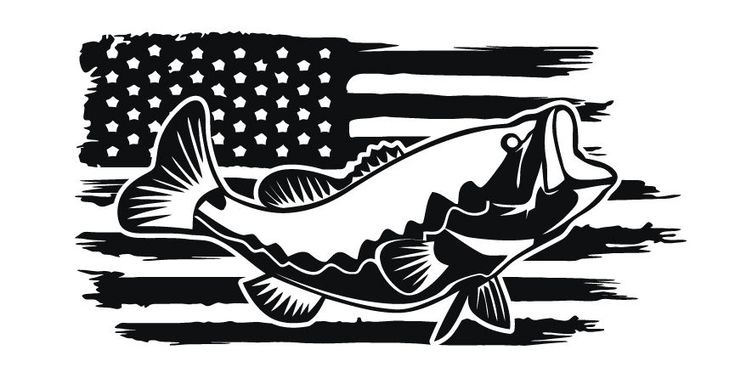 Details About Distressed American Flag Bass Fishing Fish