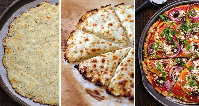 Bezlepková, nizkokalorická a zdravá verzia cesta na pizzu z karfiolu. Výber surovín na pizzu je na vás.