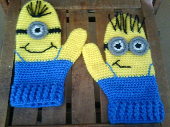 Minion Mittens  CROCHET PATTERN @Lisa Phillips-Barton Phillips-Barton:  Not a free pattern, but some really cute Minion stuff that is fun to look at!