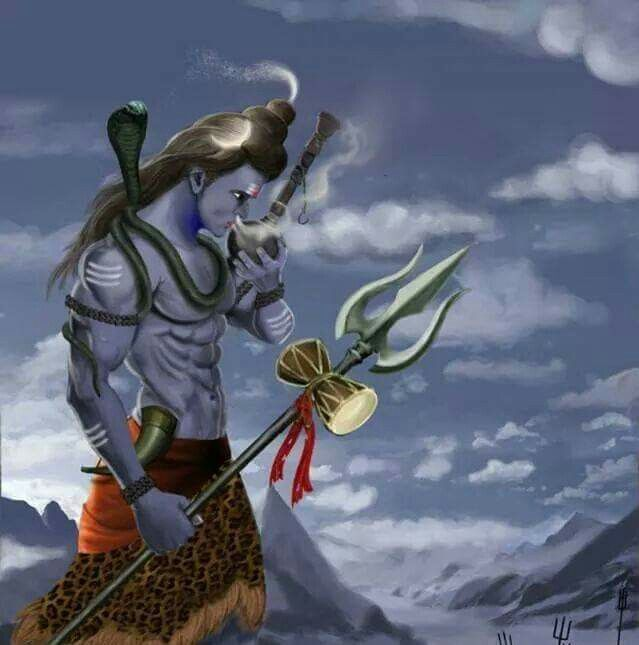 Shiva smoking a bong