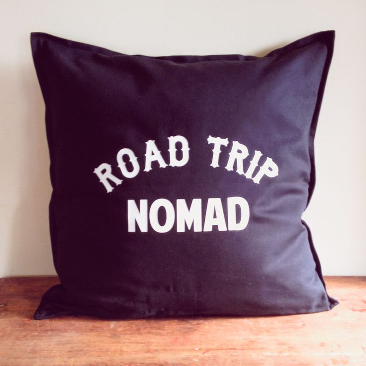for the wanderer in all of us ... the slogan ' road trip nomad' in white text ... designed by us and then printed by us in our home studio on solid black cotton cushion covers with a zip ... these measure 50 x 50 cm ( 20 x 20 inches) .. you are purchasing the cover only..  inspired by vintage, rock n roll, adventurers and wanderers ... we designed our tees and homewares for those of us who yearn to learn, travel and adventure ....  make every day an adventure.. take the long way home ... ...