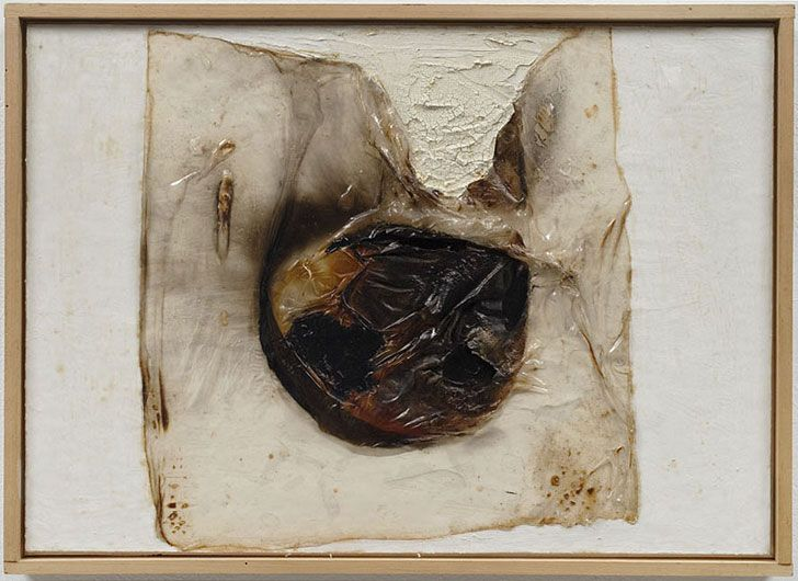"""ALBERTO BURRI """"Combustione,"""" 1965 Plastic, acrylic, vinavil, combustione on cellotex 13 3/4 by 19 1/2 in. 34.9 by 49.5 cm."""