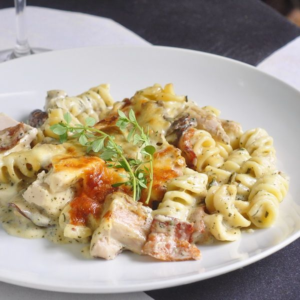Turkey Parmesan Baked Rotini, but with chicken