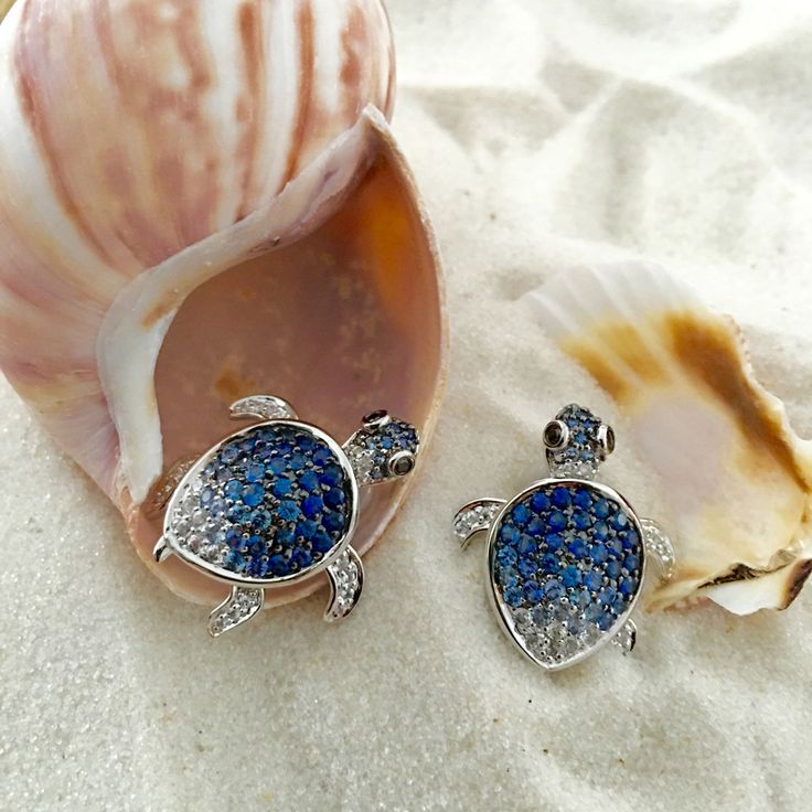 Turtle Earrings set with degrading Blue Sapphires (3.32 ct) and Black Diamond (0.06 ct) Eyes. 18K White Gold Earrings