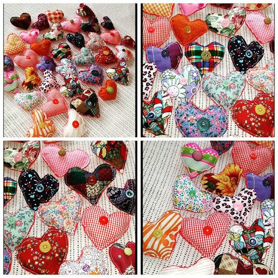Lots and Lots of funky fabric heart brooches wear them on your scarves, sweaters, hats, bags and more. each one is original fabric hearts with stuffing inside please choose a heart