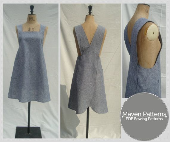 The Maria Wrap Apron is a PDF sewing pattern by Maven Patterns. This pattern is only available to print at home by instant download, immediately after completing checkout. SKILL LEVEL: ADVANCED BEGINNER/INTERMEDIATE  A practical and useful artists apron inspired by the traditional Japanese makers apron, just perfect for a day in the studio.  DESIGN FEATURES: * SEE PHOTOS FOR SIZE CHART & FABRIC REQUIREMENTS * TWO VERSIONS * VERSION A: wrap style back with cross over straps * VERSION B…