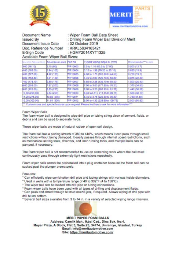Foam Wiper Ball For 2 7 8 Dp Merit Oilfield Mining In 2020 Foam Drill Oil And Gas