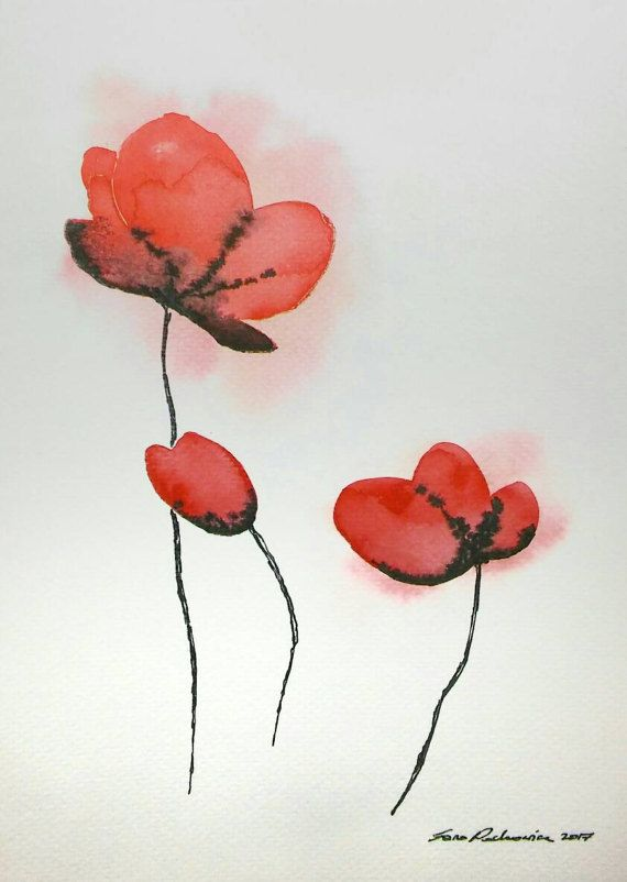 Hey, I found this really awesome Etsy listing at https://www.etsy.com/listing/515618629/red-flowers-original-watercolor-painting
