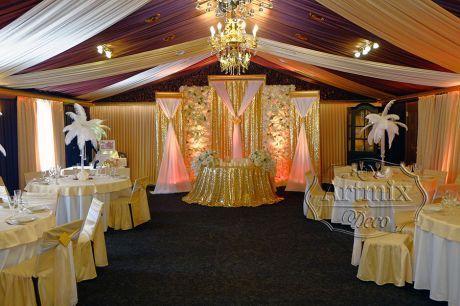 Оформление свадьбы в золотистых оттенках
