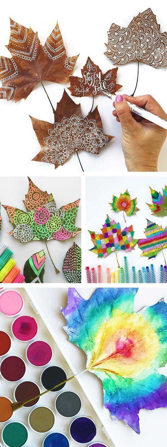 Ideen für den Unterricht mit Kindern: Herbstblätter malen