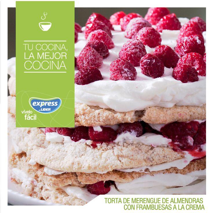 Torta de merengue de almendras con frambuesas a la crema / #RecetarioExpress #ExpressdeLider #Receta #Food #Torta #Merengue #Almendras #Frambuesas