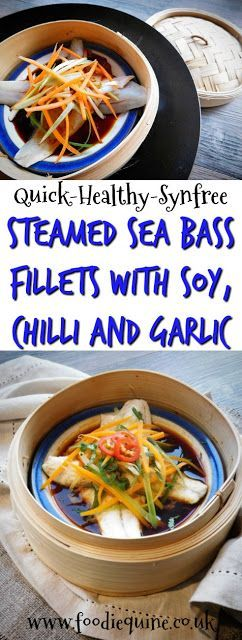 www.foodiequine.co.uk Punchy Asian flavours abound in this healthy, quick and easy fish dish which is SYN FREE on Slimming World. Steamed Sea Bass Fillets with Soy, Chilli and Garlic using frozen fish cooked in a bamboo steamer over a wok. On the table in